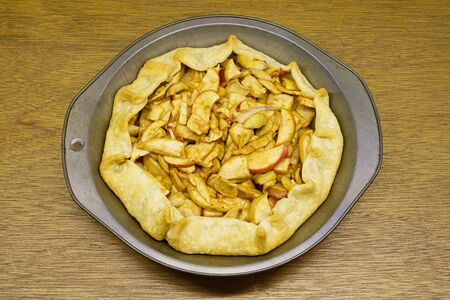 home made apple tart with folded in crust