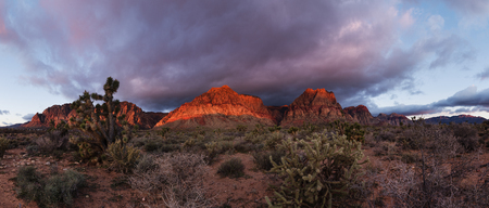 panorama of Red Rock Conservation Area in the morning