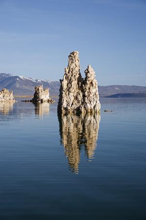 tufa towers rise out of Mono Lake in California