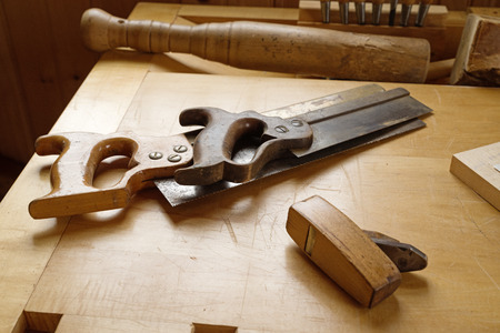 old vintage woodworking tools on a wood workbench Stock fotó