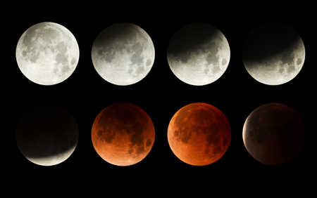 series of the lunar eclipse of the moon with blood moon Banco de Imagens - 100555913