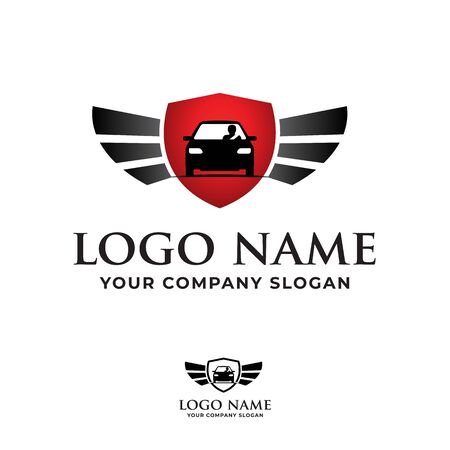 Safety driving course, driver training school, sale car with shield and wing logo. Illustration