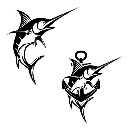 Marlin Fisch-Logo. Angelemblem für Meeresfrüchte und Sportclub.