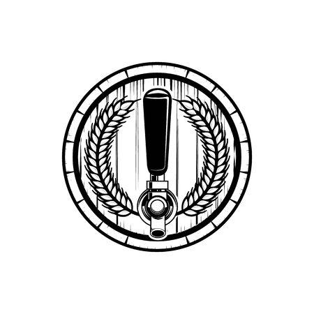 Craft Beer, draft tap, barrel of beer logo graphic.