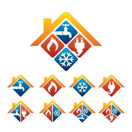 Logo di negozio di impianti idraulici, di riscaldamento, di raffreddamento, di materiale elettrico e di servizio