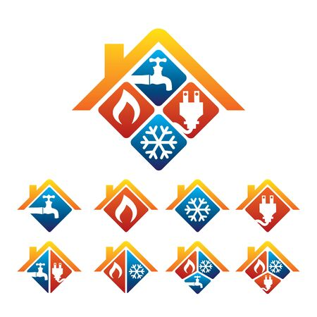 Plomería, Calefacción, Refrigeración, Tienda Eléctrica y Logotipo de Servicio