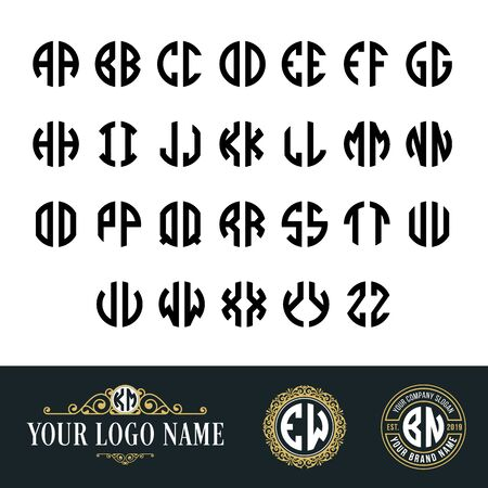 Monogram circle font with 2 letters. Suitable as an initial logo and embroidery classic style, old vintage, art deco, hipster nuances.