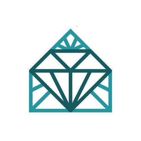 Diamond house logo. Suitable for house, home, construction, building, realtor, interior design logo. Фото со стока - 128050108