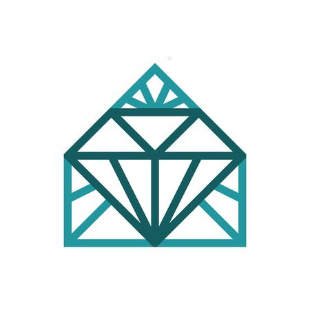 Diamond house logo. Suitable for house, home, construction, building, realtor, interior design logo. Illustration