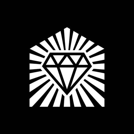 Diamond house logo. Suitable for house logos, home logos, construction logos, building logos, realtor logos or interior design logos.