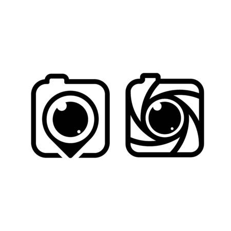 Pin camera vector. Photo studio logo. Shutter lens icon. Photography brand. Photographer identity.