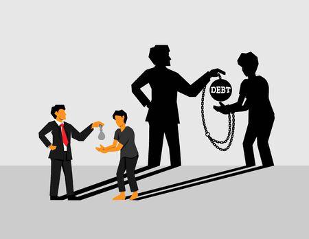 Les riches prêtent de l'argent aux pauvres à un taux d'intérêt élevé, devenant une dette et obligés de rembourser la dette ou le travail forcé ressemble à une chaîne. Une forme d'esclavage moderne.