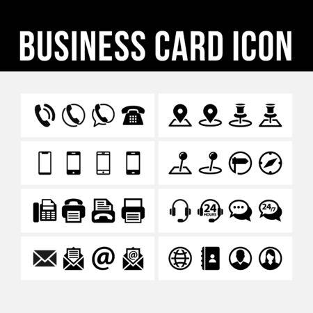Imagen de vector de símbolo de contacto de icono de tarjeta de visita