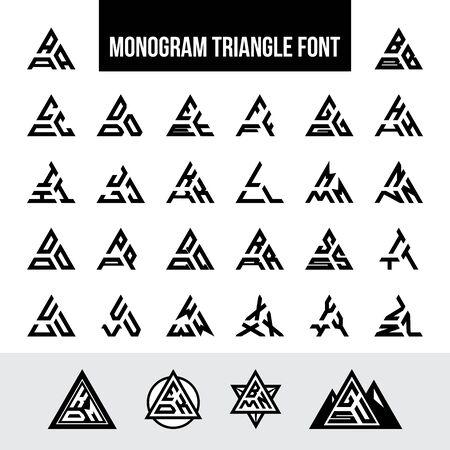 Satz Buchstaben Dreieck Monogramm Logo Schriftart
