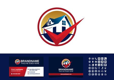 Real Estate, House, Home, and check mark logo business card template vector Logo