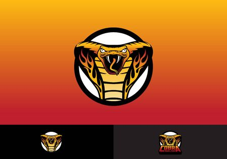 King Cobra Snake head with flame esport  template vector.