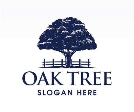 Oak tree, logo, silhouette, icon. Nature, strong, ecology symbol. Vector illustration.