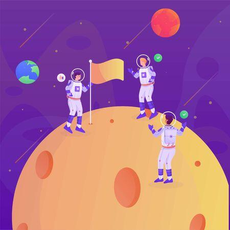 astronaut flag on the moon illustration