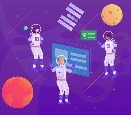 astronuat talking on the space illustration Illusztráció