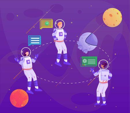 Astronaut discussion about capsule illustration Illustration