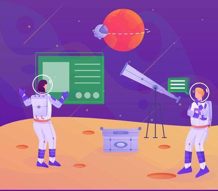 astronaut telescope to mars illustration Stock Illustratie