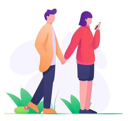 couple holding hand illustration