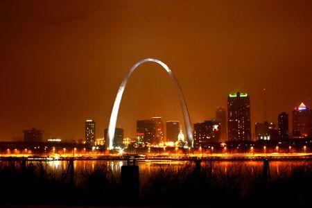 missouri: Foggy night in St. Louis Editorial