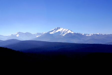 snowcapped: Wide view of a section of the snow-capped rocky mountains with trees in the foreground Stock Photo