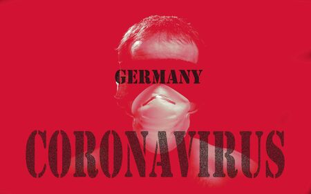 germany coronavirus corona virus red letter sign in background man with blindfold bind up or band and white surgical mask in black background Stockfoto