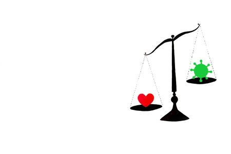 old balance scale silhouette on white background love vs coronavirus