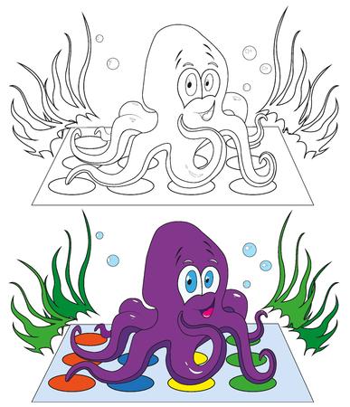 Färbung Oktopus Mit Lächeln. Vektor-Illustration Lizenzfrei Nutzbare ...