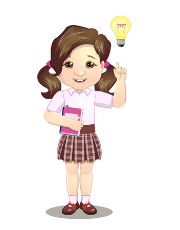 The schoolgirl had an idea, beautiful on a white background Illustration