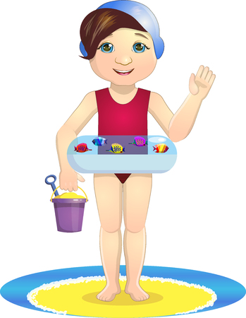 swimming cap: Summer, girl on the beach, vector illustration on White background