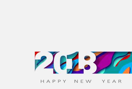 2018 happy new year, abstract design 3d, vector illustration Çizim