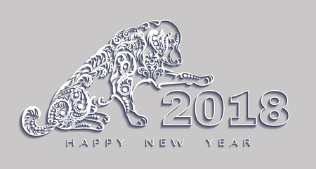 happy new year 2018, the year of the dog.Vector white paper. Design elements for holiday cards.