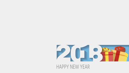 2018 Happy new year. Numbers Design of greeting card of. Happy New Year Banner with 2018 Numbers.  illustration. Zdjęcie Seryjne