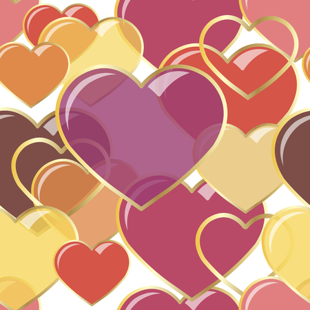 vector illustration Seamless hearts of gems in gold frame. Background romantic design. for greeting cards and invitations to a wedding, birthday, Valentines Day, mothers day