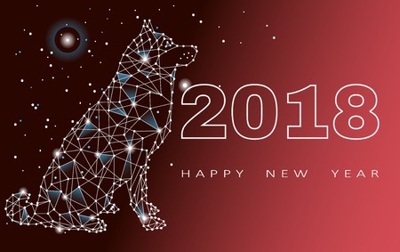 Happy new year 2018, year of the dog vector illustration.