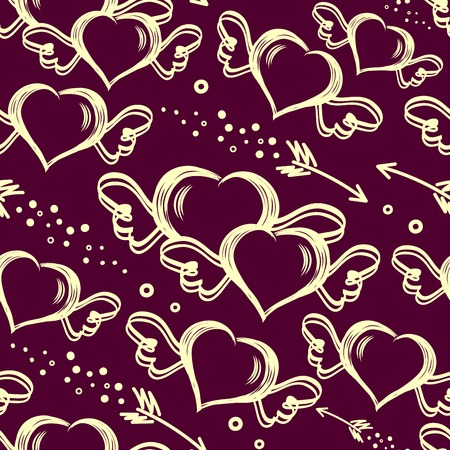 Vector seamless stylish pattern with hand drawn hearts with wings and flying arrows. Valentines Day. For wrappers, fabrics, textiles, wallpaper, web design.