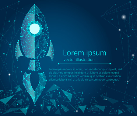 business concept,rocket startup,bright neon.isolated from low poly wireframe on a blue background. Vector abstract geometric polygonal image mash line and point.