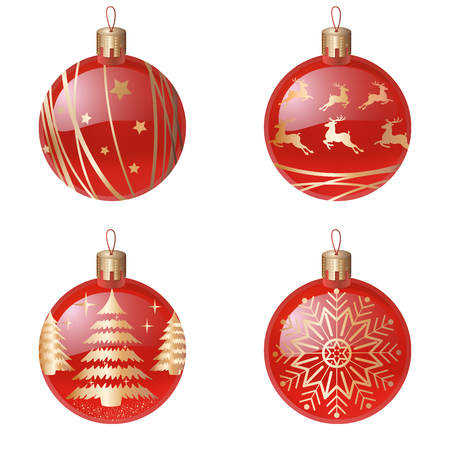 Christmas tree decorations isolated on white background vector illustration set. Winter Holidays and Celebrations concept. Balls red realistic balls, with a golden silhouette of a Christmas tree, deer, snowflake, abstract lines. Ilustracja