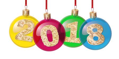 Choinek dekoracje odizolowywać na białego tła wektorowym ilustracyjnym set.2018 złocistym wzorzystym tekscie. Zimowe wakacje i uroczystości koncepcja. Kulki, dekoracje.