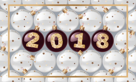2018 New Years spheres with golden text. Christmas ball. design element. vector design for banners, posters, leaflets, calendar, postcards. Ilustracja