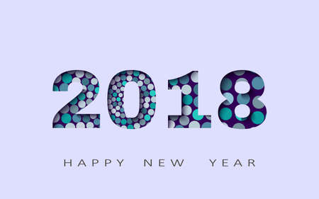 happy new year, abstract design 3d, 2018  illustration,Layered realistic, for banners, posters flyers