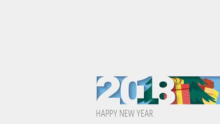 2018 happy new year, white paper. 3d Effect, Christmas tree and gifts in the background, illustration,Layered realistic, for banners, posters flyers