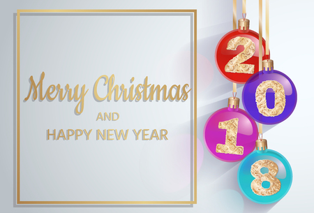 Merry Christmas. 2018 New Years spheres with golden text. 3d Christmas ball. design element. vector design for banners, posters, leaflets, calendar, postcards.