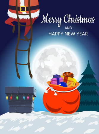 Santa Claus on the roof descends into the chimney. Christmas design of a winter holiday poster, postcards, for banners, posters, brochures, leaflets,Place for your text. Vector illustration Ilustracja