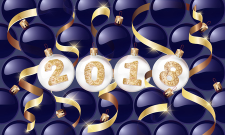 happy New Year. 2018. Christmas balls with a golden text and golden serpentine. Christmas design, winter holidays.Vector illustrations. for banners, posters, leaflets, calendar postcards