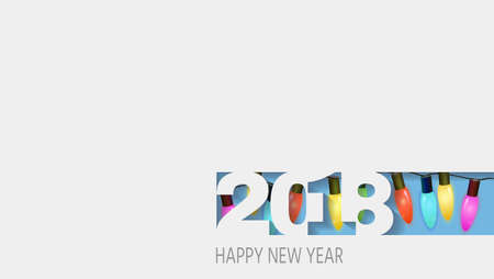2018 happy new year, white paper. abstract design 3d,  illustration,Layered realistic, for banners, posters flyers