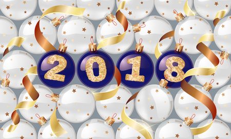 happy New Year. 2018. Christmas balls with a golden text and golden serpentine. Christmas design, winter holidays. illustrations. for banners, posters, leaflets, calendar postcards